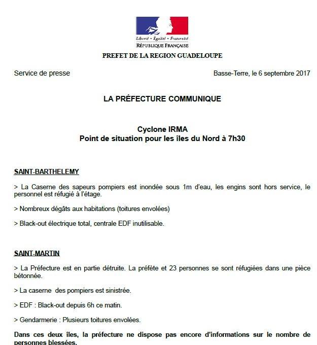 ourgan irma recommandation prefecture guadeloupe
