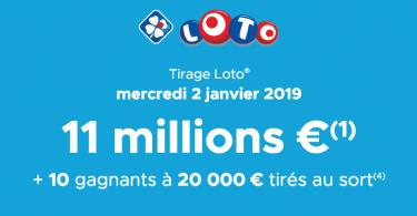 resultat loto 2 janvier 2019