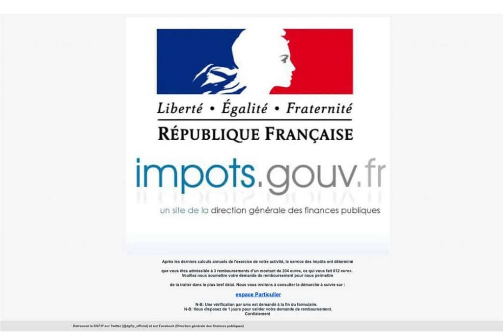phishing impots faux mail