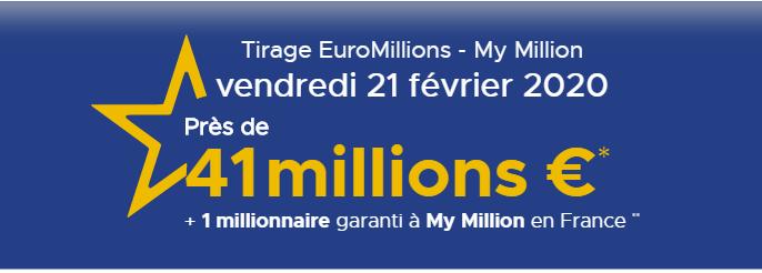 Resultat Euromillions 21 février 2020
