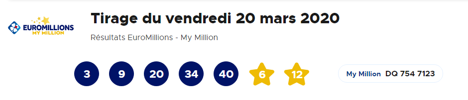 Résultat Euromillions – My Million vendredi 20 mars 2020 [En Ligne]