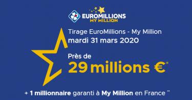 Euromillions - My Million : La FDJ lance un gros lot de 29 millions d'euros pour ce mardi 31 mars 2020