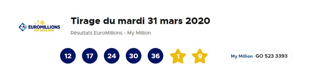 Résultat Euromillions – My Million du 31 Mars 2020 : La FDJ lance un gros lot de 29 millions d'euros