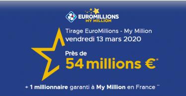 Résultat Euromillions – My Million du vendredi 13 Mars 2020 : Est-ce un jour de chance pour les joueurs ?