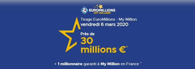 Quelle-est la combinaison gagnante Euromillions My-Million de ce vendredi 06 mars 2020