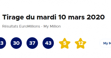 Euromillions – My Million du Mardi 10 Mars 2020
