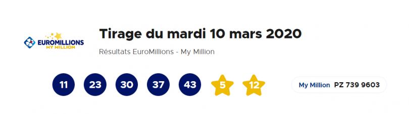 Euromillions – My Million du Mardi 10 Mars 2020