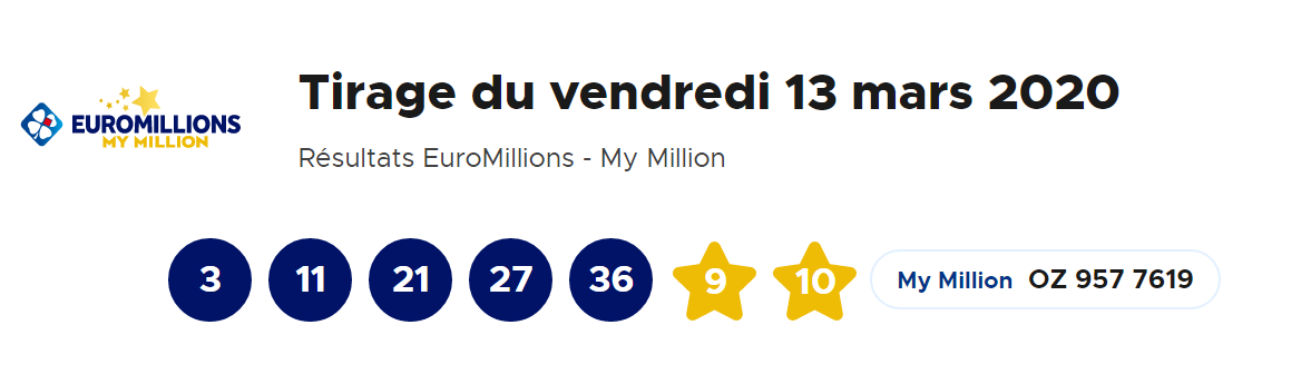 Resultat Euromillions My million du vendredi 13 mars 2020