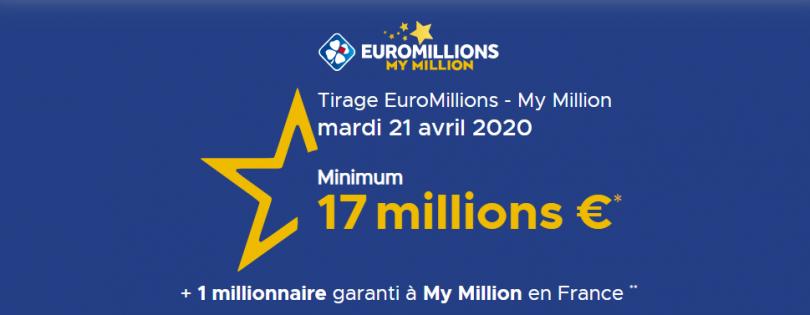 Euromillions du Mardi 21 avril 2020 (17 millions d'euros)