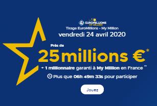 Résultat Euromillions 24 avril 2020