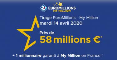 La FDJ met en ligne le Résultat Euromillions – My Million du mardi 14 avril 2020