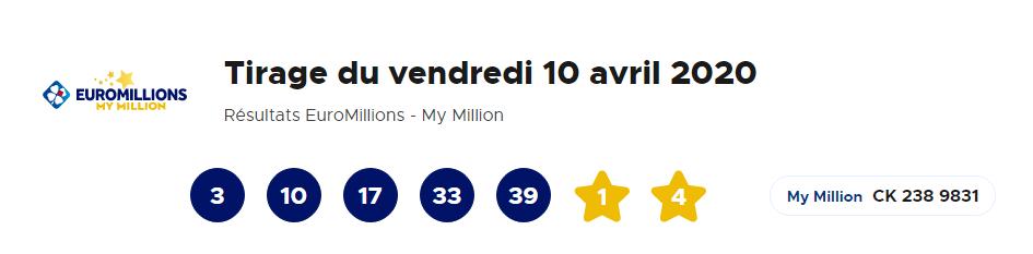 Résultat Euromillions du vendredi 10 avril 2020 en ligne (52 millions d'euros)