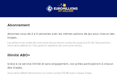 L'abonnement à EuroMillions