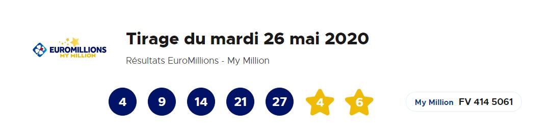 Résultat Euromillions du mardi 26 mai 2020