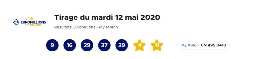 Tirage Euromillion du 12 mai 2020
