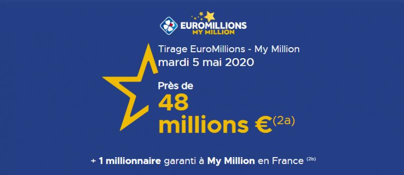 Tirage Euromillions du mardi 05 mai 2020 (Jackpot de 48 millions d'euros)