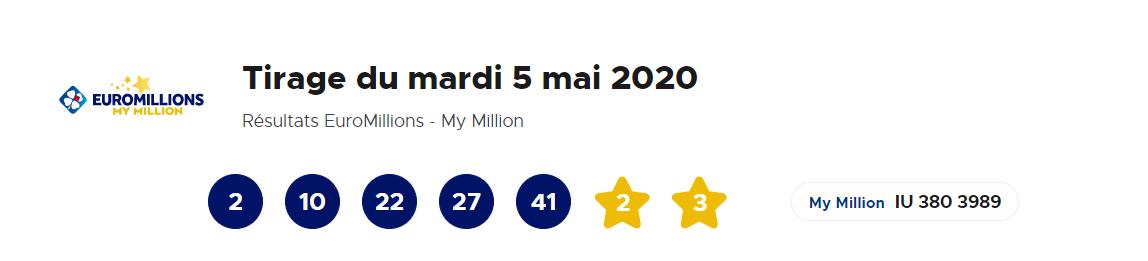 Tirage Euromillions du mardi 5 mai 2020
