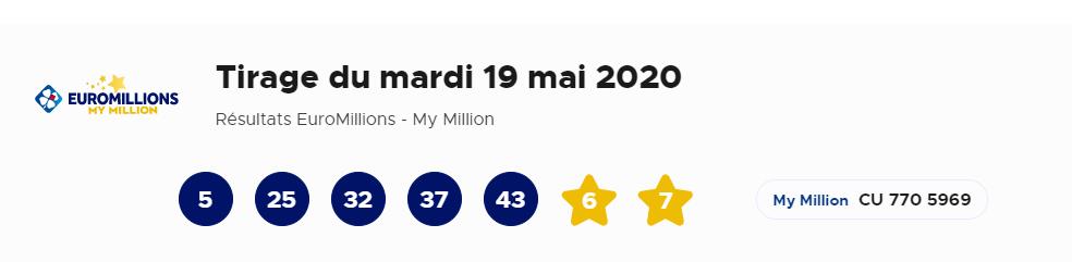 Tirage du 19 mai 2020 Euromillion
