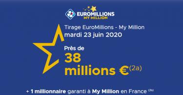 Tirage Euromillions – My Million du Mardi 23 juin 2020 : 38 millions d'euros sont misent en jeu