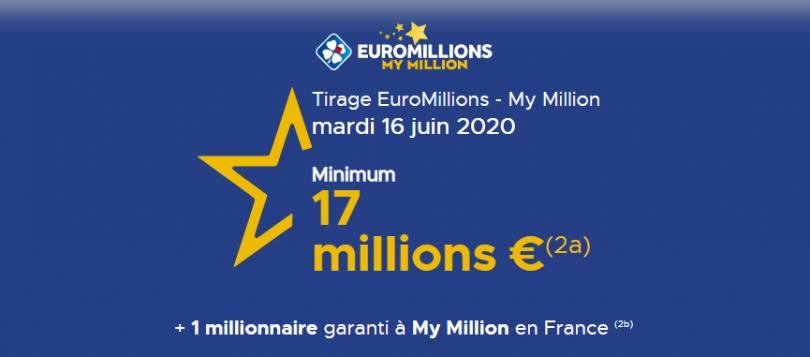 Rappel pour participer à l'Euromillions et My Million du mardi 16 juin 2020