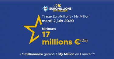 Suivez le tirage Euromillions du mardi 2 juin 2020 (17 000 000 €)