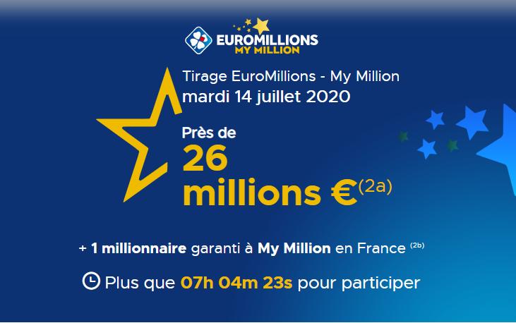 Jouer à Euromillions du mardi 14 juillet 2020 pour tenter de gagner 26 millions d'euros