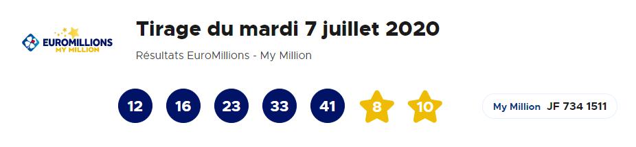 Résultat Euromillions tirage mardi 7 juillet 2020