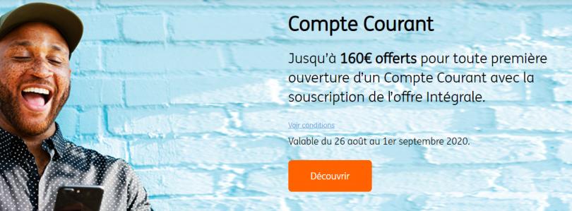 Jusqu'au 1er Septembre, 160 € sont offerts via l'offre Flash Carte Gold Only chez ING