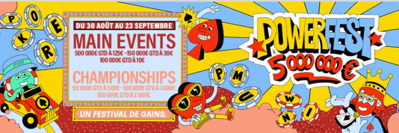 Participez au Powerfest 2020 sur PMU Poker 400 tournois et 5 000.000€ à partager du 30 Août au 23 Septembre