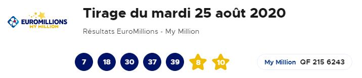 Résultat Euromillion 25 Août 2020