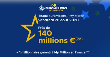 Résultat Euromillions du 28 Août 2020