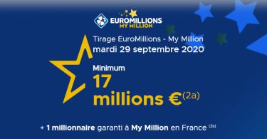Euromillions tirage du mardi 29 Septembre 2020 (17 millions d'euros)