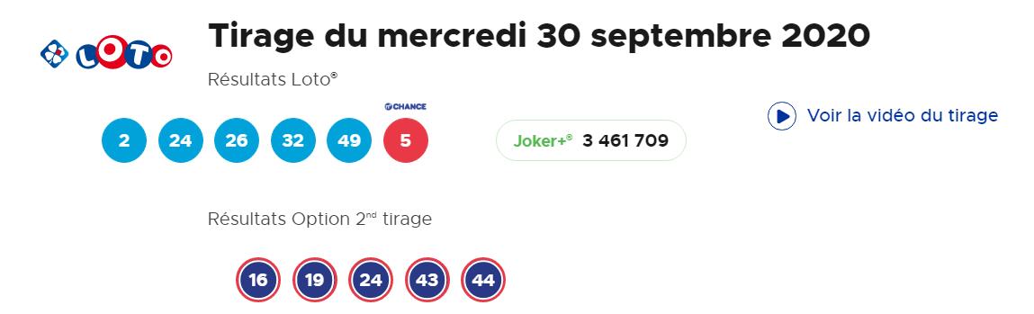 Tirage Mercredi 30 septembre 2020