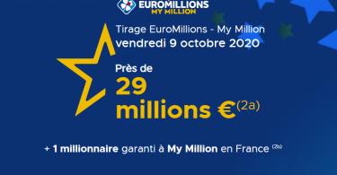 Tirage Euromillions My Million de Vendredi 09 Octobre 2020 (29 000 000 €)