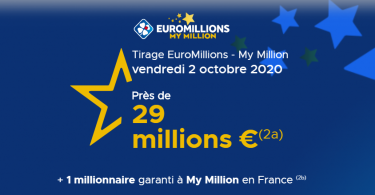 Euromillions (FDJ) énoncé du tirage du Vendredi 02 Octobre 2020 (29 millions d'euros)