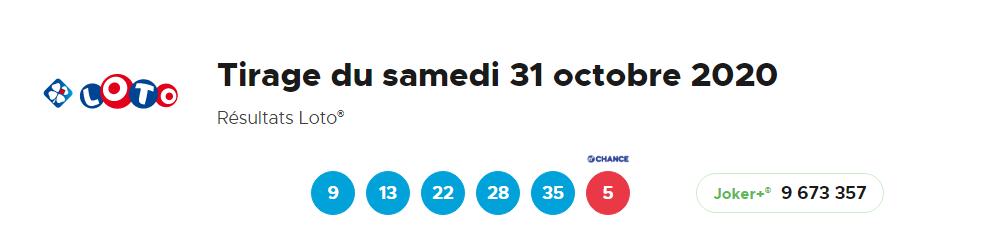 Résultat Loto samdi 31 octobre 2020 -1
