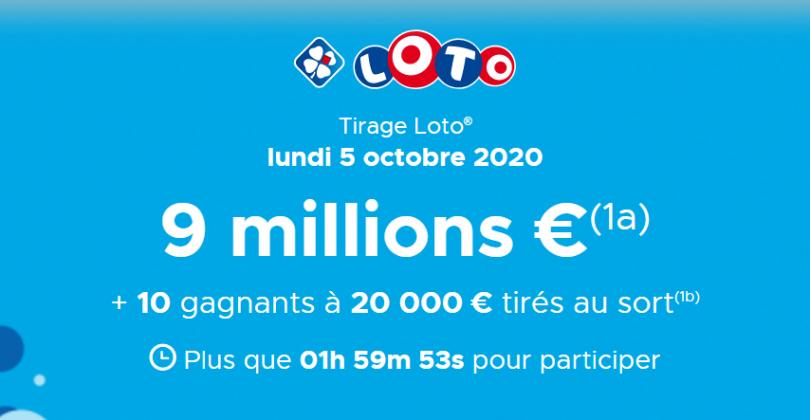 Résultat Loto tirage du Lundi 05 Octobre 2020 en ligne (Jackpot 9 000 000€)