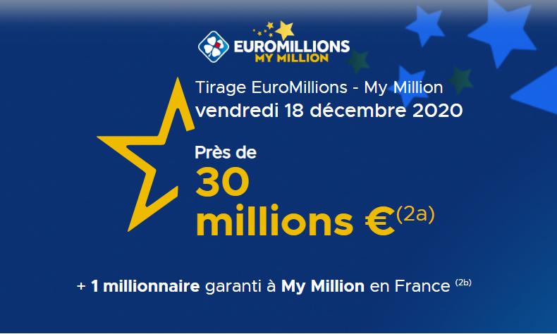 Euromillions, tirage du vendredi 18 décembre 2020 & quelques historiques