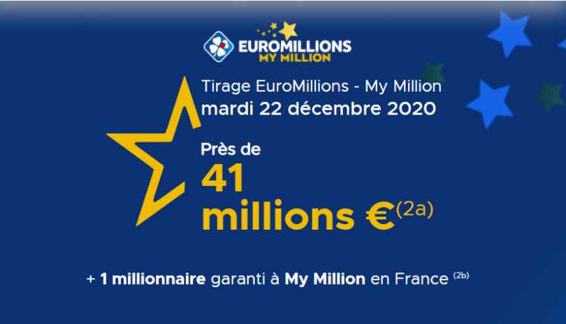 Présentation du tirage Euromillions du mardi 22 décembre 2020 (41 000 000 €)