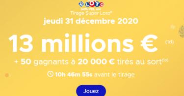 Super Loto information du Grand tirage du jeudi 31 décembre 2020