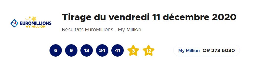 Tirage Euromillions vendredi 11 décembre 2020