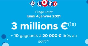 Loto (FDJ) information sur le tirage du lundi 4 janvier 2021 (cagnotte 3 000 000 €)