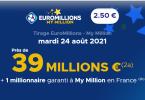 Euromillions du mardi 24 août 2021 : une cagnotte de 39 millions d'euros